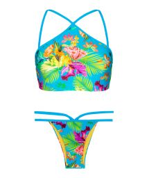 Tropical print high neck crop-top bikini - TROPICAL BLUE NECK