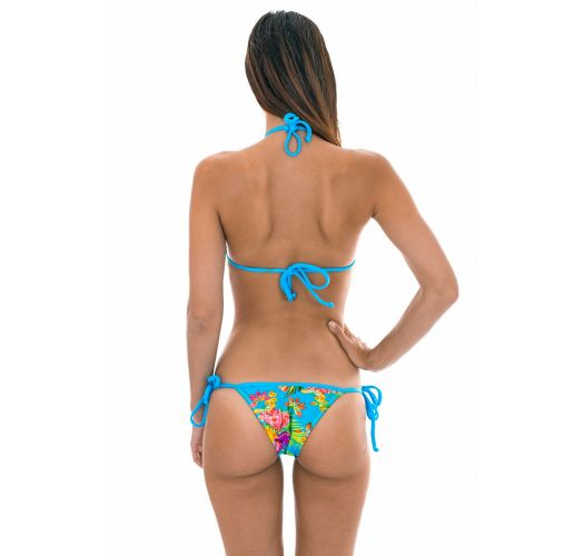 Triangle bikini in tropical flower print with blue straps - TROPICAL BLUE TRIANGULO