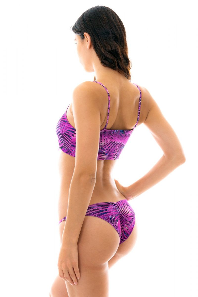 Lila, bladmönstrad bikini med knytband på behån - ULTRA VIOLET BRA