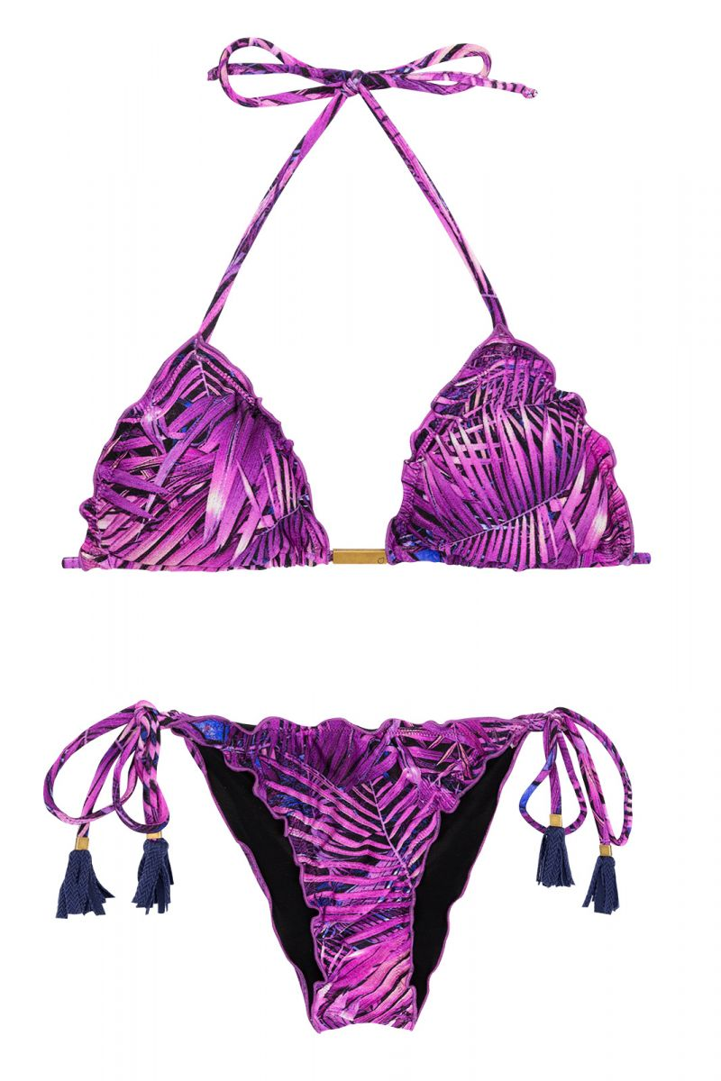 Purple leaves scrunch bikini - ULTRA VIOLET FRUFRU