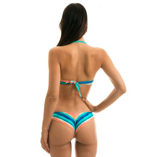 Blue and coral bandeau bikini with removable strap - UPBEAT BANDEAU