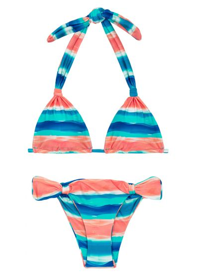 Blue / coral sliding triangle halter bikini - UPBEAT CORTINAO