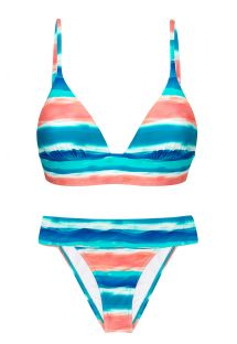 Blue & coral longline bikini with wide waistband - UPBEAT COS COMFORT