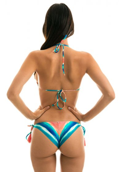 Blue & coral side-tied bikini with triangle top - UPBEAT INV COMFORT