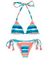 Blue / coral side-tie scrunch bikini - UPBEAT INVISIBLE