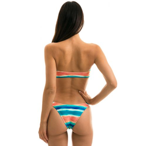 Blue and coral high-leg bikini with bandeau top - UPBEAT RETO