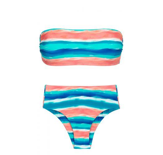 Niebiesko-koralowe bikini z wysokim stanem i topem bandeau - UPBEAT RETO HOTPANT