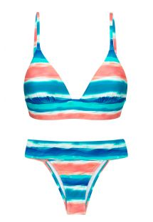 Blue and coral longline triangle bikini with laced back - UPBEAT TRI COS