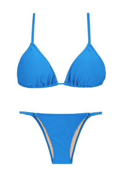 Blue Brazilian bikini with adjustable bottom - URANO ARG FIXO