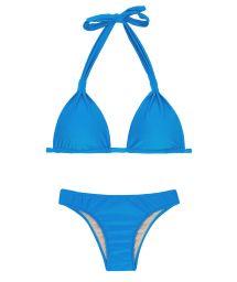 Бикини синего цвета с бюстгальтером-фуляром с треугольными чашками с кольцами из ткани - URANO CORTINAO