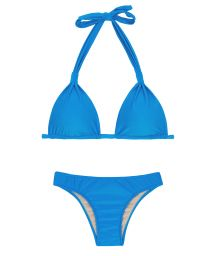 Blå trekantsbikini, halterneck, tygringar - URANO CORTINAO