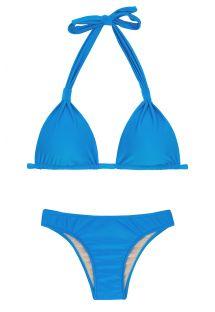 Bikini triangle foulard bleu anneaux tissu - URANO CORTINAO