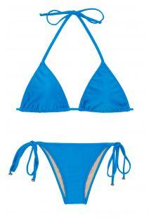 Blue side-tie Brazilian bikini - URANO LACINHO