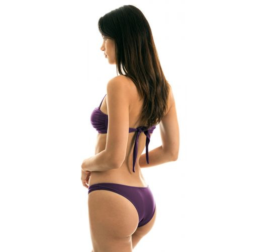 Bikini iridiscente violeta de pierna alta con top bandeau - VIENA BANDEAU