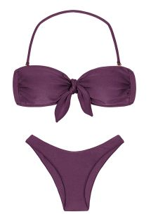 Iridescent purple high-leg bikini with bandeau top - VIENA BANDEAU