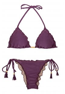 Plum side-tie scrunch bikini wavy edges - VIENA FRUFRU