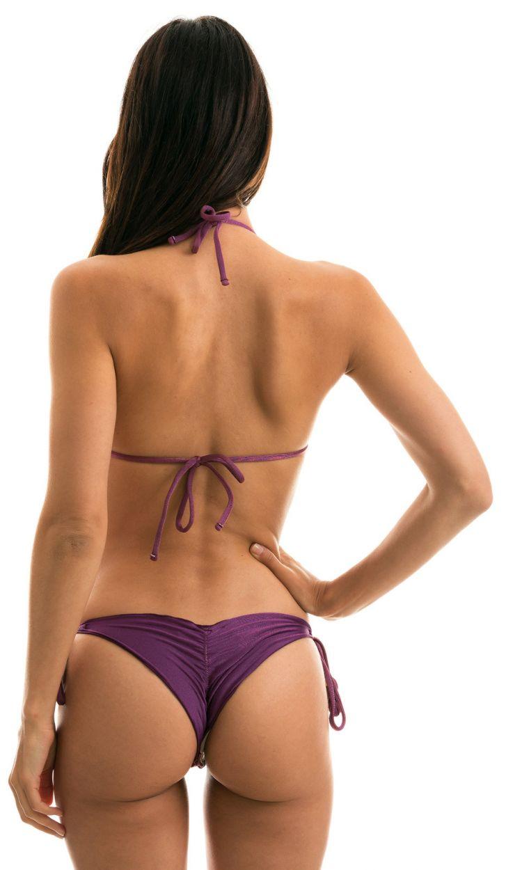 Bikini brésilien scrunch violet irisé à pompons - VIENA FRUFRU