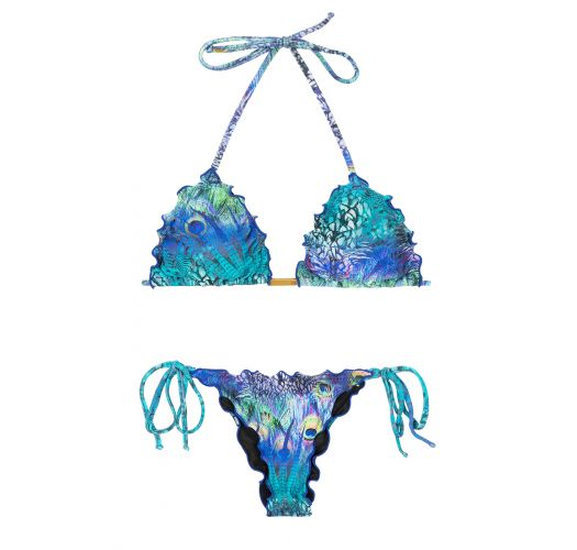 String bikini wavy edges blue peacock print - VIOLINA FRUFRU FIO
