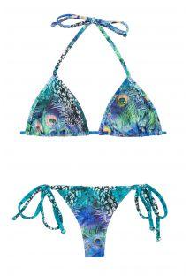 Niebieskie wiązane bikini typu stringi z motywem pawich piór - VIOLINA MICRO