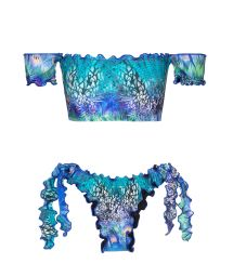 Off-shoulder blue bikini with wavy edges and peacock print - VIOLINA OFF SHOULDER