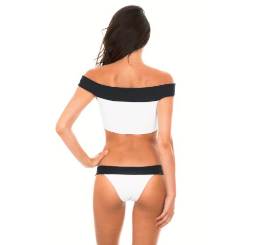 Off-the-shoulder crop-top bikini - Bardot neckline - WHITE AND BLACK
