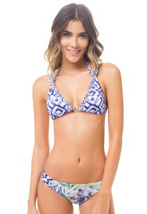 Printed double-strap triangle bikini - AMAZONA TRIBAL
