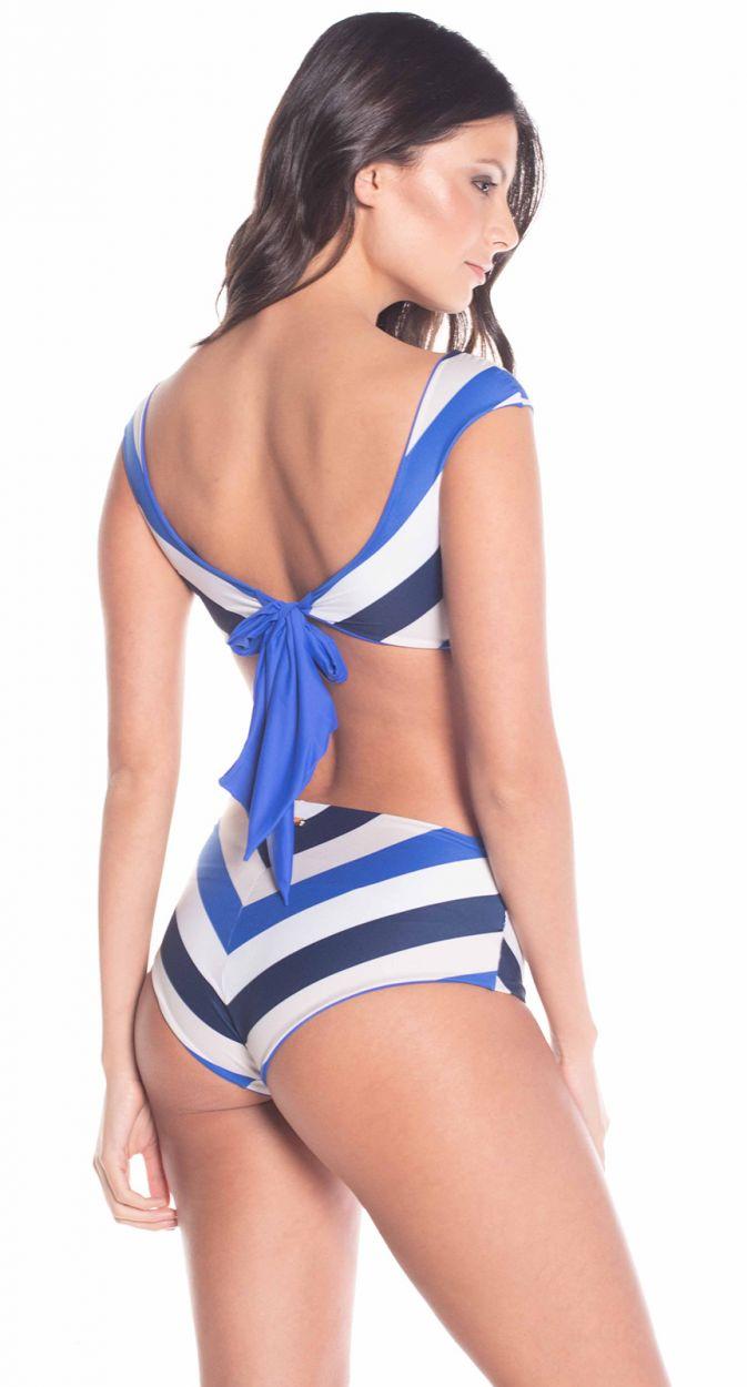 Reversible striped Klein blue crop top bikini - AURORA EPOQUE