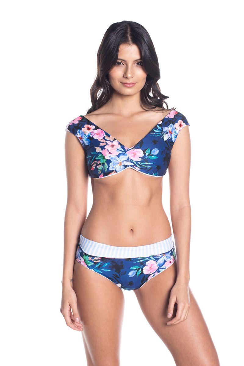 BBS X SAHA - vändbar bh-bikini med hög midja - AURORA FLORAL NIGHT