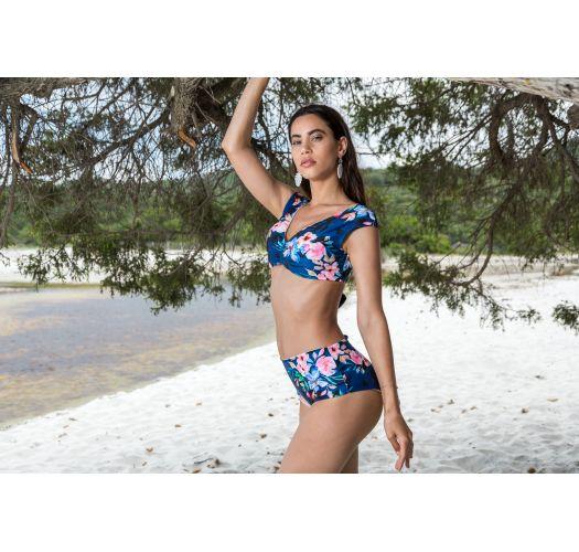 BBS X SAHA - reversierbarer, hoch taillierter BH-Bikini - AURORA FLORAL NIGHT
