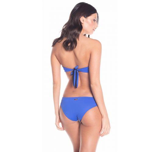 Wende-Bandeau-Bikini in Klein Blau/Schwarz - BONGO
