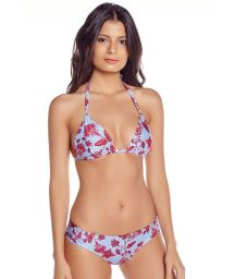 Reversible two-tone floral triangle bikini - CARIBE FLORAL