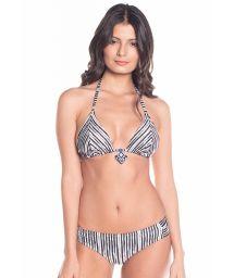 Bikini triangle rayé bicolore réversible noir - CARIBE LIGHT STRIPES