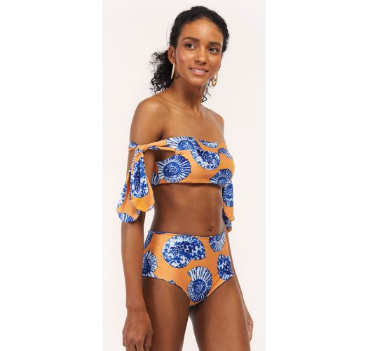 High waisted reversible blue / yellow bikini with shells - COCORA EPOQUE
