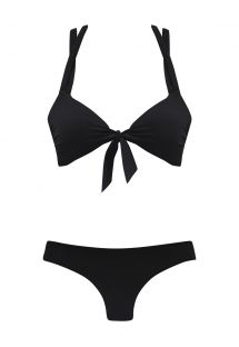 Bikini brasiliano nero, reggiseno con laccetti - CONNECTION MULTI