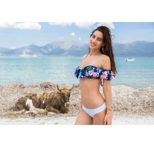 BBS X SAHA - skulderløs bandeau-bikini blomster/striper - CUMBIA FLORAL NIGHT