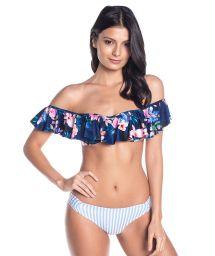 BBS X SAHA - off shoulder bandeau bikini flowers / stripes - CUMBIA FLORAL NIGHT