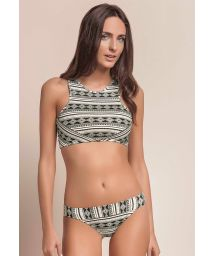 Black/white ethnic crop-top bikini - DELIGHT ETNIC