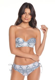 Blue & white printed bandeau bikini with reversible bottom - FREYA SAND TRACE