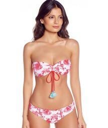 Bandeau-bikini med vändbart motiv fiskar/röd - GERANIUM RED