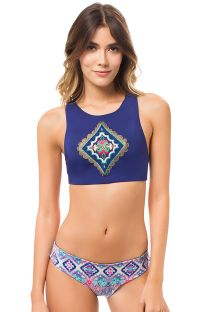 Embroidered crop-top bikini with reversible bottom - MACONDO AGUA