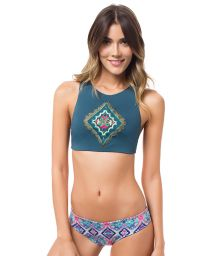 Embroidered crop-top bikini with reversible bottom - MACONDO VERDE