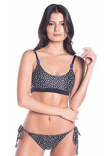 Reversible printed bra bikini with side-tie bottom - MALVA RUSTIC DOTS / BLACK NIGHT