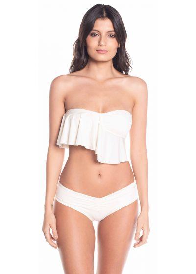 Multi-position ruffled ecru crop top bikini - MAMBO BRANCO