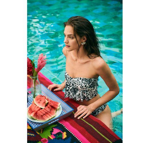 Schwarz/weißer Multipositions-Crop-Top-Bikini - MAMBO RIO WATERLILY