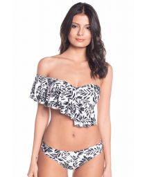 Black and white floral multi-position crop top bikini - MAMBO RIO WATERLILY