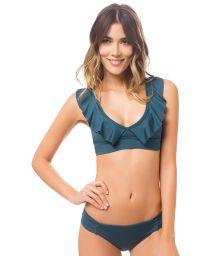 Duck green sports-bra style bikini with flounce - MAPALE CYPRESS