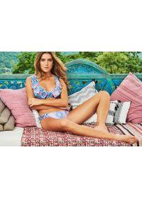Ethnic pattern sports-bra style bikini with frills - MAPALE DELILAH