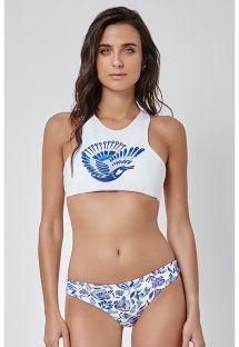 Bikini med kort topp och tvåfärgat tryck, brottarrygg - PASSARO ALTO