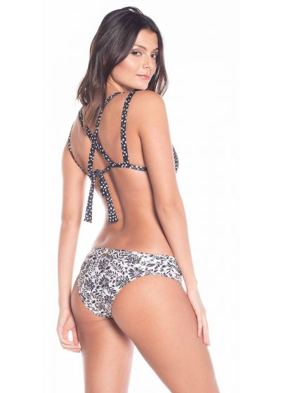 Reversible floral / black in polka dots triangle bikini - PETALA NEGRA