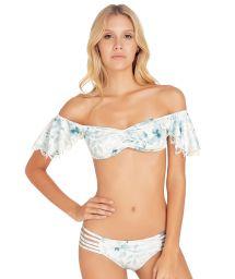 Bikini bandeau floral manches volant dentelle - SAMBA BLOSSOM